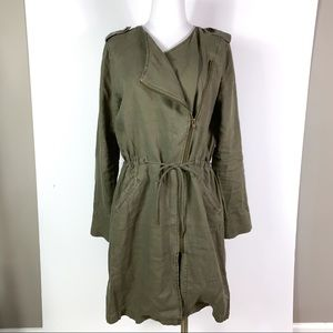 NWT Michael Stars || Linen Trench Coat Army Green